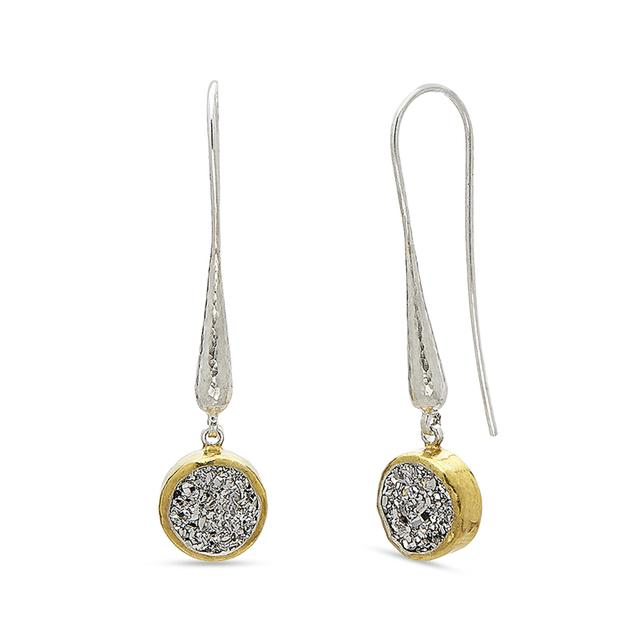 Swoonery-Mystere Round Drusy Sterling Silver Drop Hook Earrings