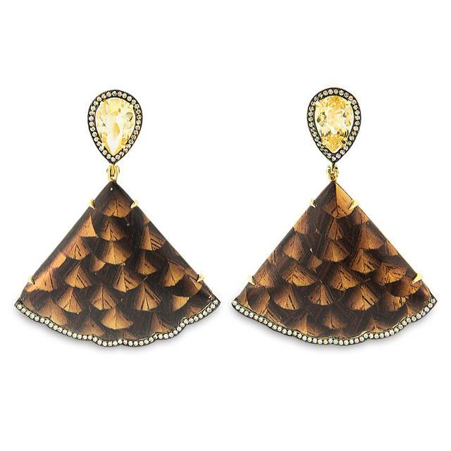 Swoonery-Marquetry Jacaranda Brown Wood Earrings