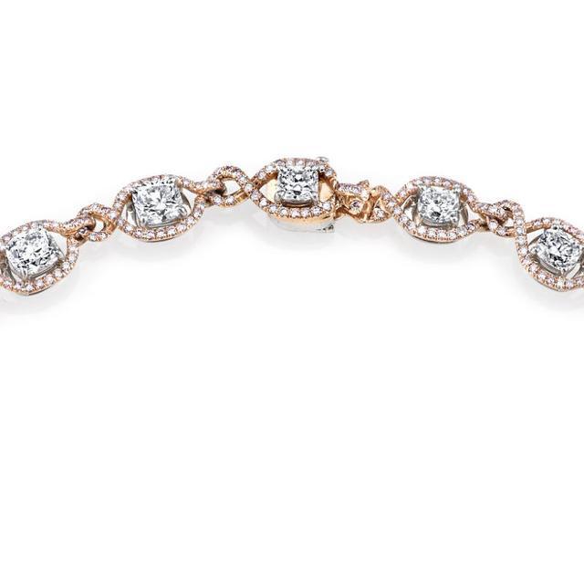 Harry Kotlar Kotlar Cushions with white & pink diamonds pave link Bracelet hYNXQjP4m